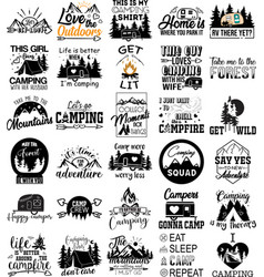 Collection camping phrases slogans or quotes vector