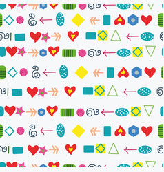 colorful shapes and hearts pattern vector image