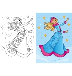 Coloring Book Of Snow Maiden vector image