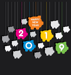 creative happy new year 2019 design vector image