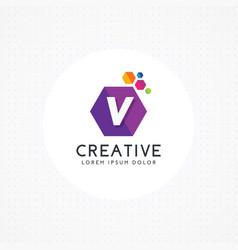 creative hexagonal letter v logo vector image
