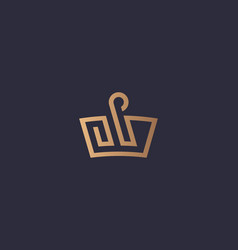 crown swan logo icon design luxury vector image
