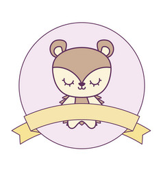 cute porcupine animal with ribbon in frame vector image