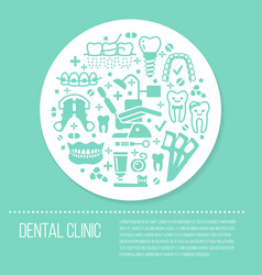 dentist orthodontics blue medical banner with vector image