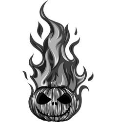 design pumpkin in fire vector image