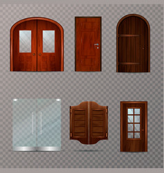 Entrance doors transparent set vector