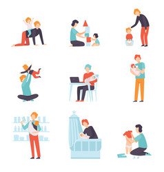 fathers taking care of their babies set young vector image