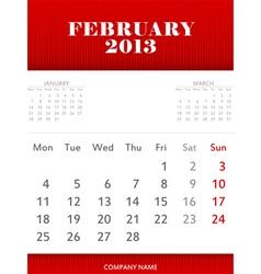 February 2013 calendar design vector