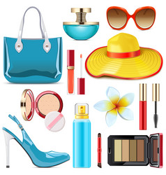 Female summer accessories vector