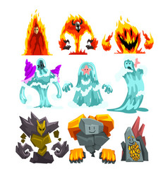 Fire stone and water monsters set fantasy mystic vector