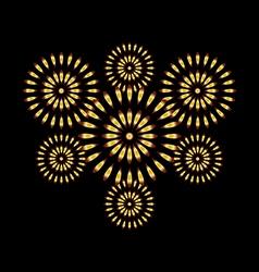 Fireworks gold on black background vector image