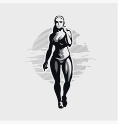 fitness woman in sportswear and sneakers goes vector image