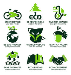 flat icon set for eco friendly environment vector image
