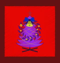 Flat shading style icon christmas fir wreath vector