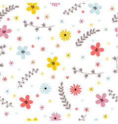 floral summer seamless pattern with leaves vector image vector image