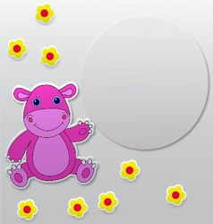 Greeting card with hippo cartoon vector
