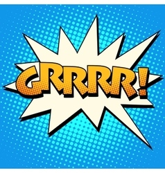 Growling grrrr comic bubble retro text vector