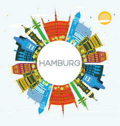 hamburg germany city skyline with color buildings vector image