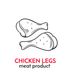 Hand drawn chicken legs icon vector