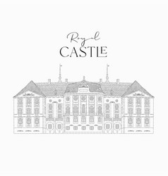 hand drawn line art old royal castle vector image