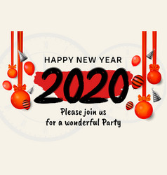Happy new year 2020 black number with red vector