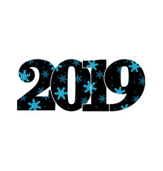 happy new year card black number 2019 blue vector image