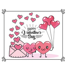 hearts couple with balloons and love card vector image
