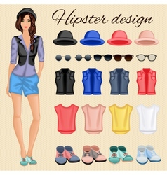 Hipster girl elements vector