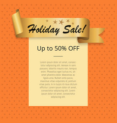 holiday sale up to 50 off poster with gold ribbon vector image