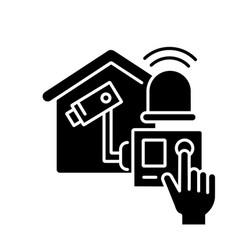 Home alarm system black glyph icon vector