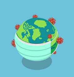 isometric earth put a surgical mask to vector image