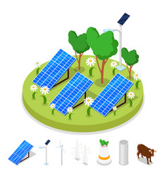 Isometric ecology concept renewable solar energy vector