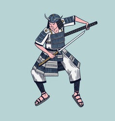 japanese samurai warriors with weapons sketch vector image