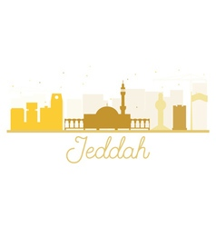 Jeddah City skyline golden silhouette vector image