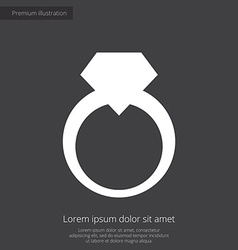 jewelery ring premium icon white on dark backgroun vector image