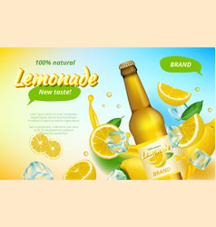lemone ads yellow flowing juice splashes and half vector image