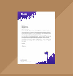 Letterhead with flat indigo and white gooey effect vector