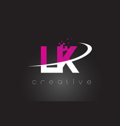 lk l k creative letters design with white pink vector image