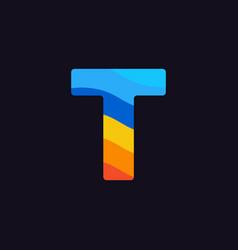 logo letter t colorful blue red orange vector image