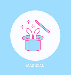 Magician line icon logo for vector