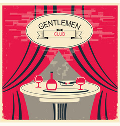 Mens club red room with table and alcohol vector