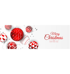 Merry christmas web banner gold and red xmas ball vector
