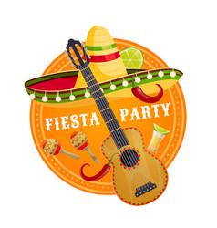 Mexican fiesta party sombrero and guitar vector