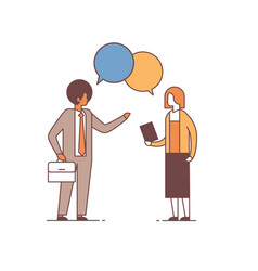 mix race couple chat bubble discussing business vector image