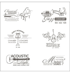 Music and instruments - badges logotypes vector
