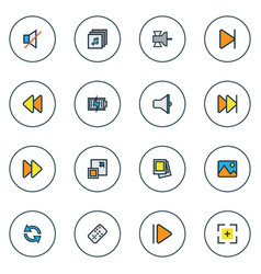 Music icons colored line set with full screen vector