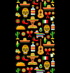 Pattern with traditional mexican attributes vector