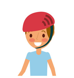 portrait young smiling boy with sport helmet vector image