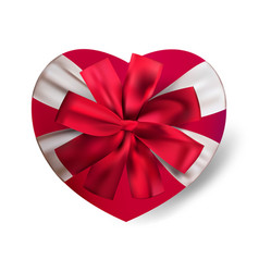 realistic red heart shape gift box isolated vector image