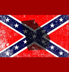 Rebel civil war flag with georgia map vector